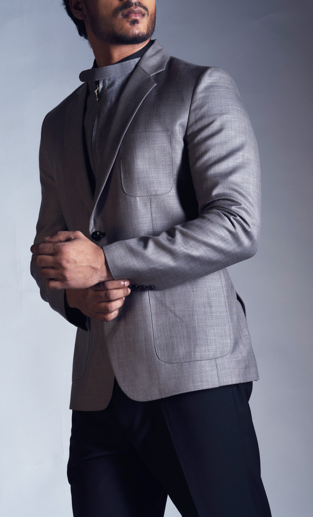 Grey Blazer with a Detachable Waistcoat and Trousers