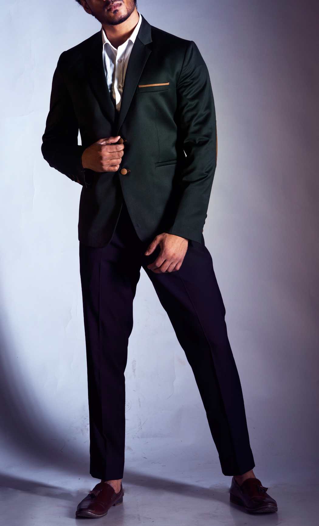 Bottle Green Blazer with Elbow Patches and Black Trousers