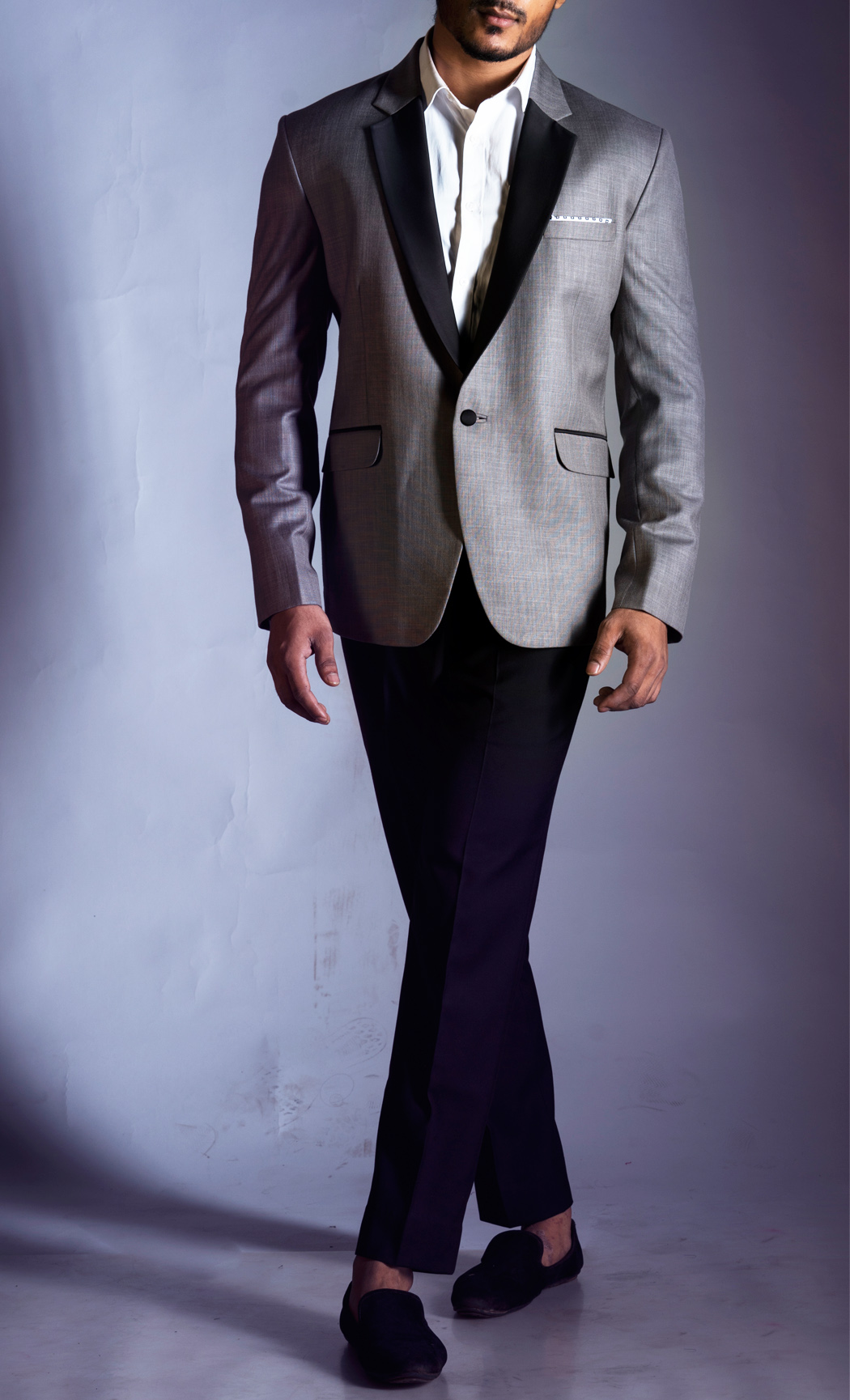 Slubbed Grey Blazer with a Black Lapel and Black Trousers