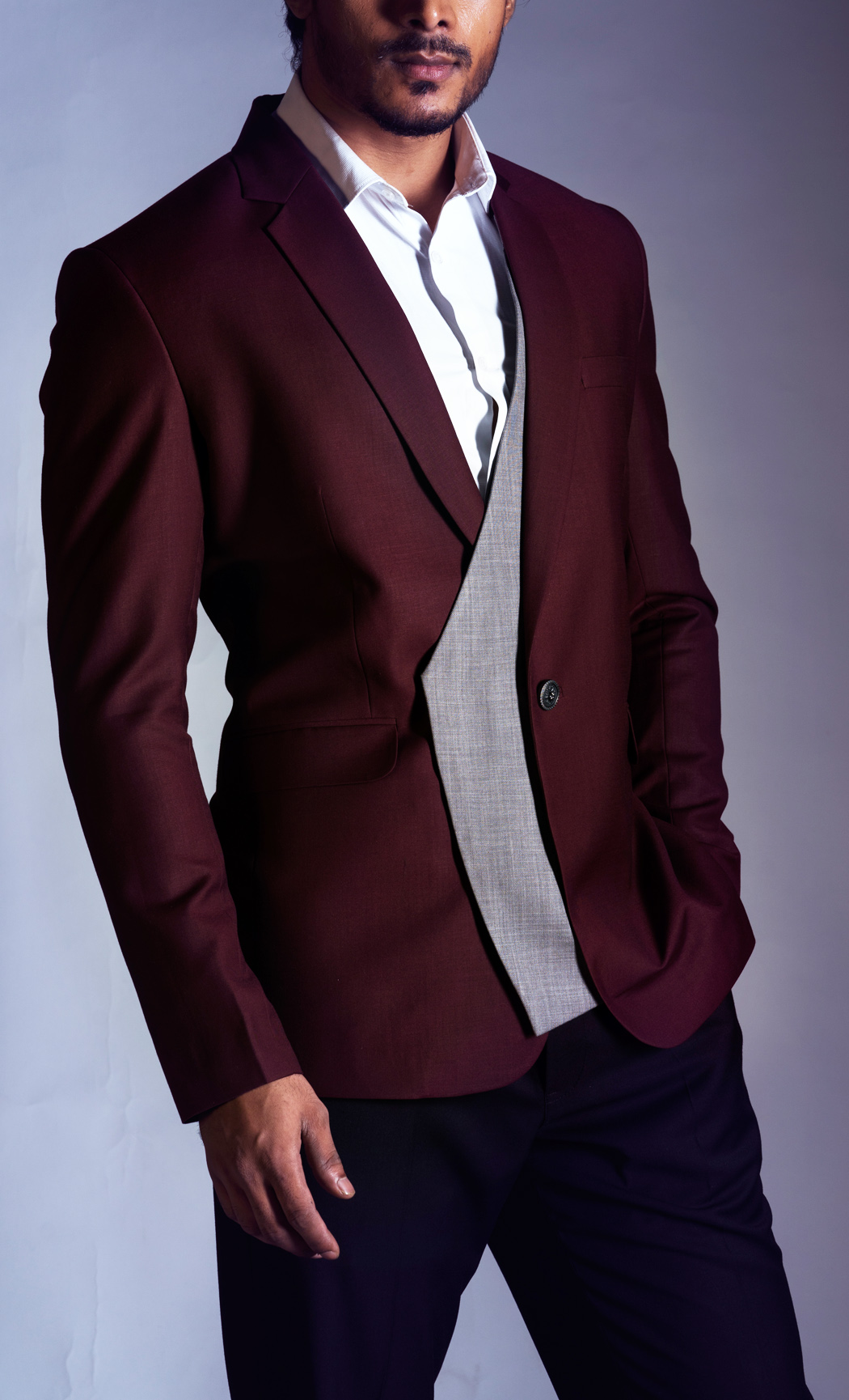 Red Wine and Grey Blazer and Black Trousers