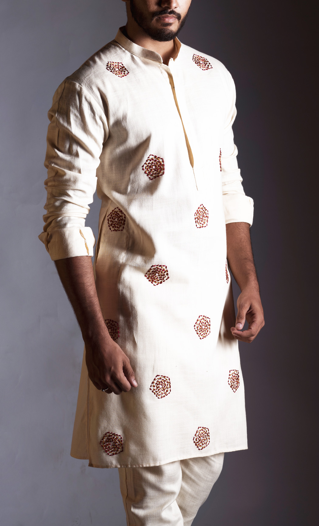 Cream Linen Embroidered Kurta and Straight Trousers
