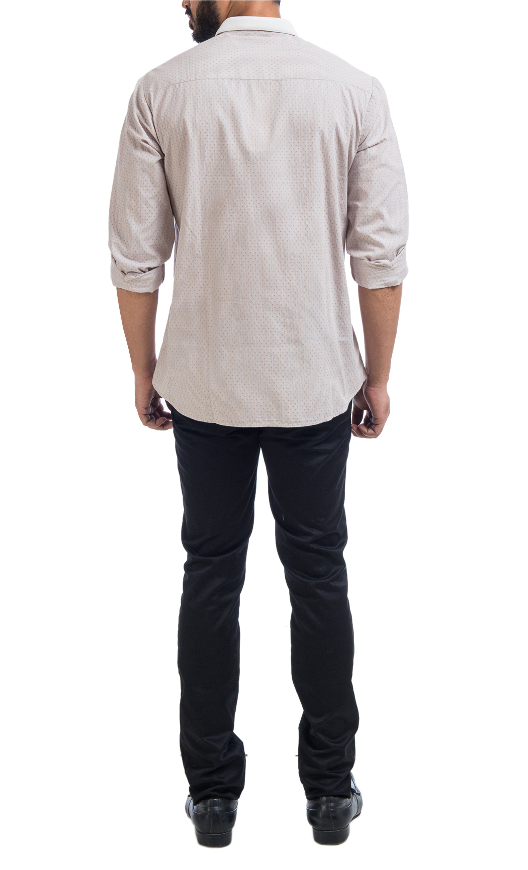 Off-White Cotton Shirt with a Knit Collar and Leather Applique