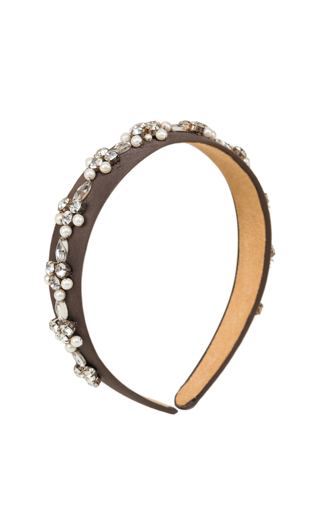 Black-Brown Hair Band with Pearls and Rhinestones