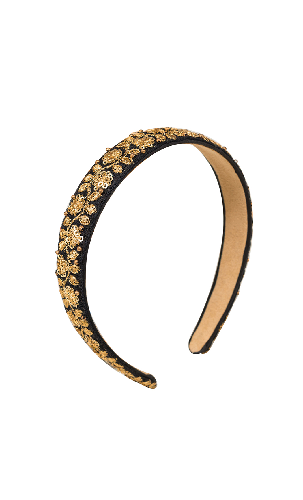 Black and Gold Embroidered Hair Band