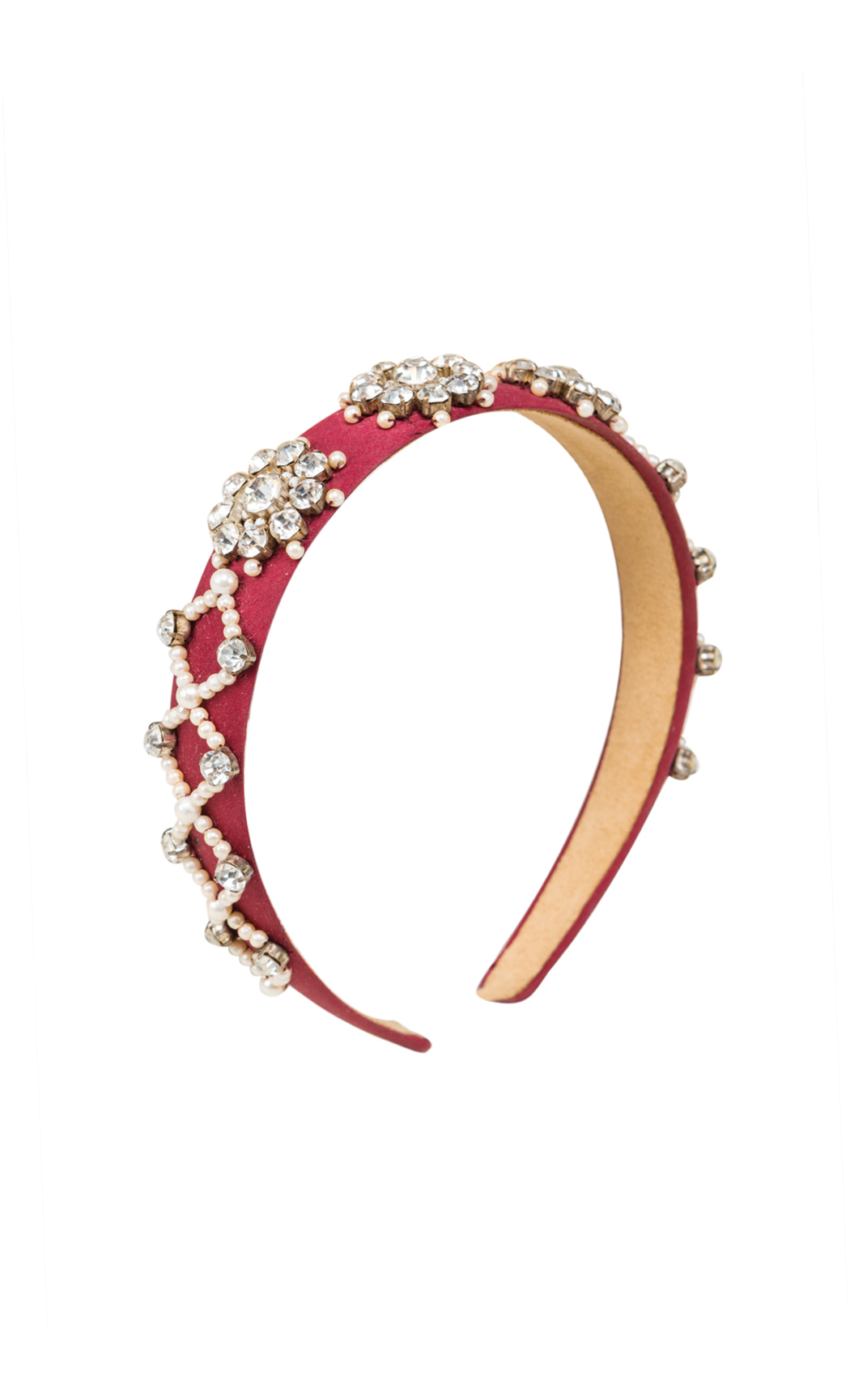 Maroon Hair Band with Pearls and Rhinestones